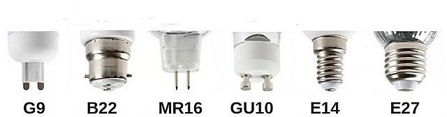 Основные типы ламповых цоколей