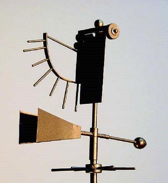 На иллюстрации показан флюгер Вильда, позволяющий визуально оценивать скорость ветра
