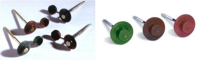 Гвозди старого (слева) образца, с пластиковым колпачком, и нового – с литой шляпкой, не требующей дополнительной операции