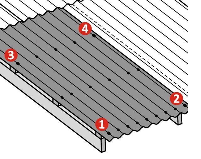 Вначале лист фиксируется четырьмя гвоздями по углам, затем пробивается весь нижний ряд, и уже потом – два остальных