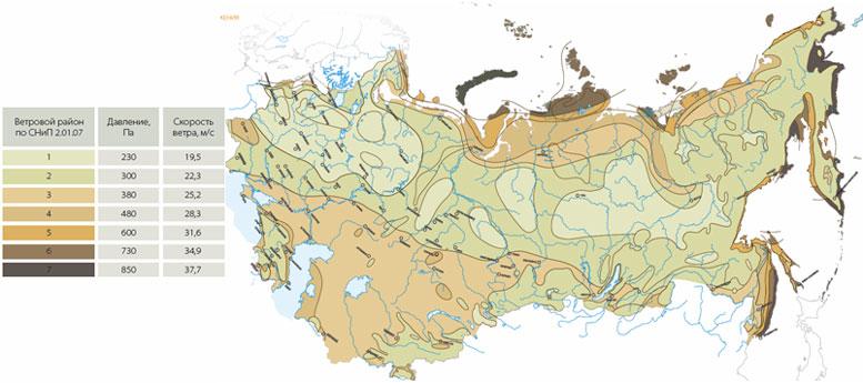 Карта ветровых районов по - СП 20.13330.2011