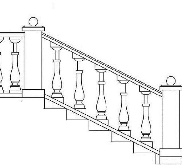 Принцип установки балясин на тетиве лестницы