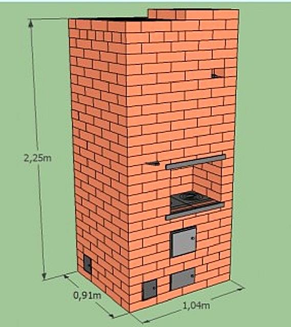 На иллюстрации представлен проектный вариант компактной колпаковой печи, которая отлично подойдет для отопления дома с небольшой площадью. Она имеет размер в основании 910×1004 мм, то есть ее площадь составляет всего 0,95м².