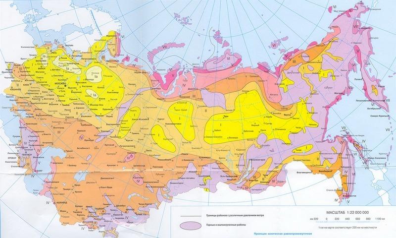 Карта-схема распределения территории РФ на зоны по уровню ветрового давления