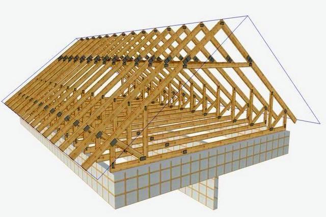 Пример конструкции крыши с висячими стропилами