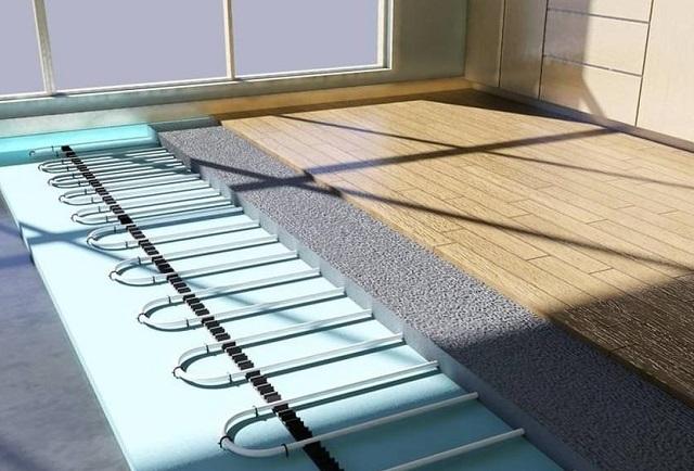 Суммарное сопротивление теплопередаче ламината и застеленной под него подложки не должно превышать 0,15 м²×°K/Вт, иначе сама система «тёплого пола» станет неэффективно, а покрытие долго не прослужит