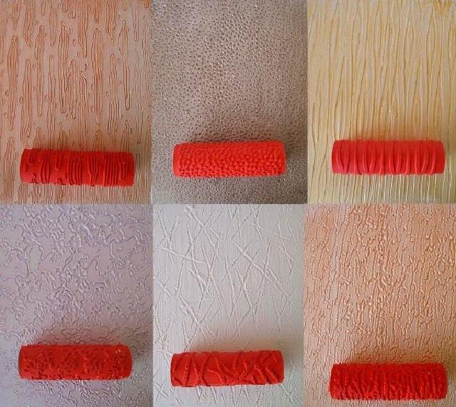 Примеры валиков для накатывания рельефа по сырой штукатурке. Показано только несколько типов, а на деле ассортимент таких валиков — очень широкий