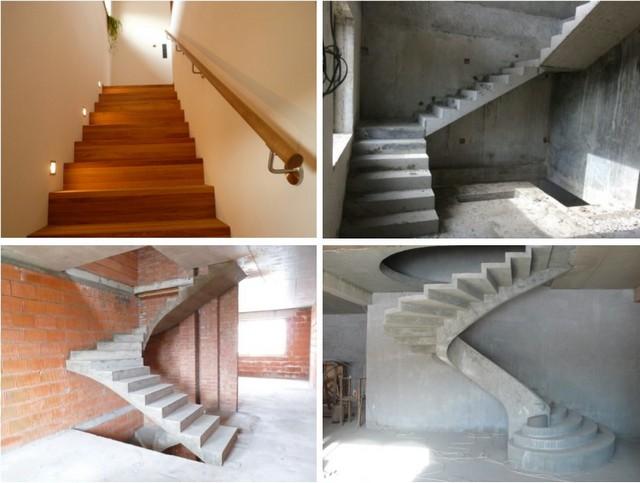 Бетонная лестница может быть «вписана» в пространство между двумя стенами, примыкать к ним одной из сторон или иметь «висящий в воздухе» марш, обладать забежным участком или даже полностью представлять собою винтовую конструкцию