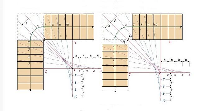 Построение контуров забежных ступеней по нанесенным равным отрезкам на вспомогательных линиях