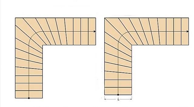 План лестницы, получившийся в итоге (оба варианта). С него можно смело снимать размеры и переводить их через масштаб к реальным величинам.