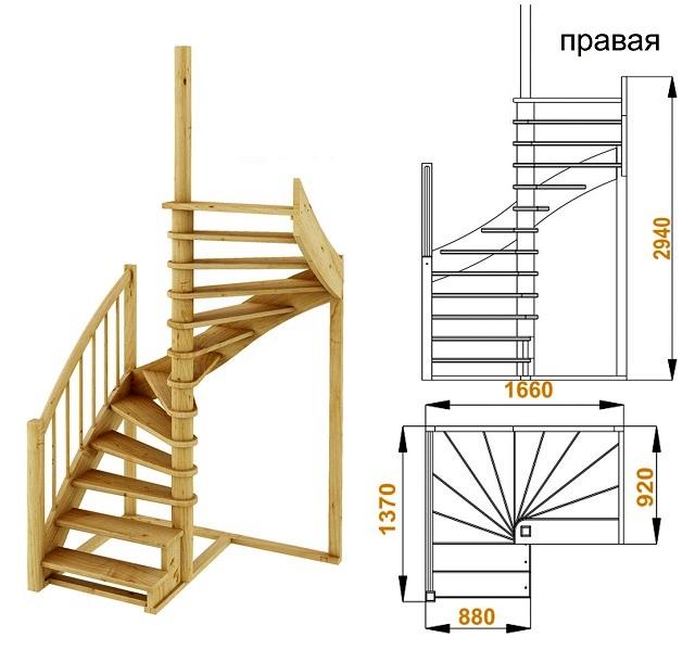 Параметры винтовой лестницы с забежными ступенями – модель К-005м (на примере правосторонней)