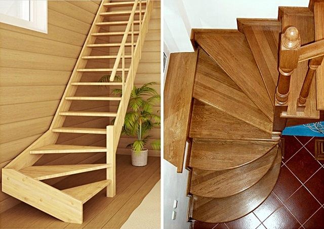 Несколько моделей лестниц с участками, оснащенными забежными ступенями