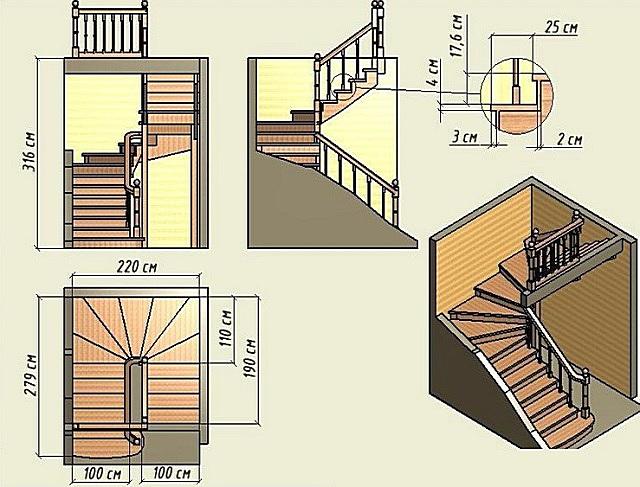 Вариант лестницы на второй этаж с двумя противоположно направленными маршами и забежным участком между ними