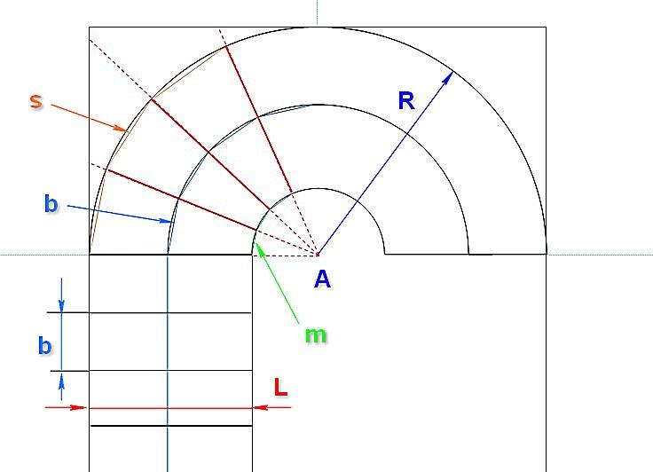 Схема для графического построения и расчета забежных ступеней без плавного перехода от маршевого участка к повороту