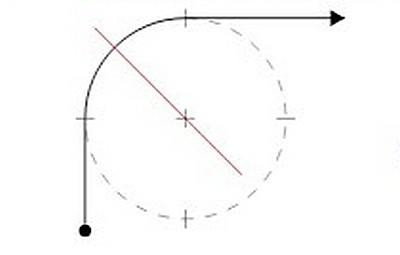 Шаг второй — намечается ось поворота (под углом в 45°) и линия движения по лестнице.
