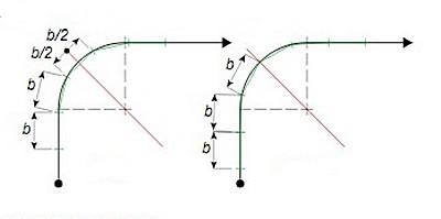 Следующий шаг – намечается расположение ступеней на забежном участке и на переходах к прямым маршам. Возможны два варианта.