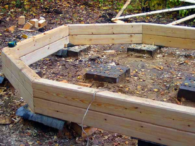 Какой бы фундамент ни использовался, между ним и деревянными деталями обвязки обязательно предусматривается гидроизоляционная прокладка