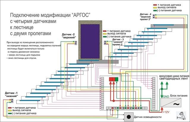 Пример электрической схемы подсветки двухмаршевой лестницы, с автоматикой, реагирующей на движение (система «Аргос» с четырьмя датчиками)