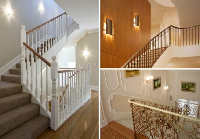 Несколько примеров использования бра для освещения лестниц