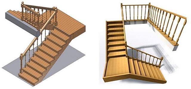 Разбивка лестницы на марши – П-образные (слева) и Г-образные