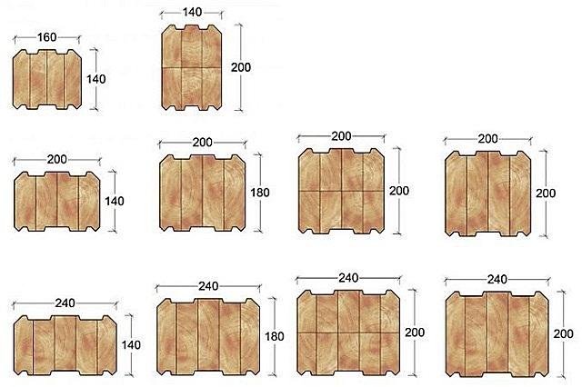 На иллюстрации – только небольшая выборка сечений и размеров профилированного клееного бруса