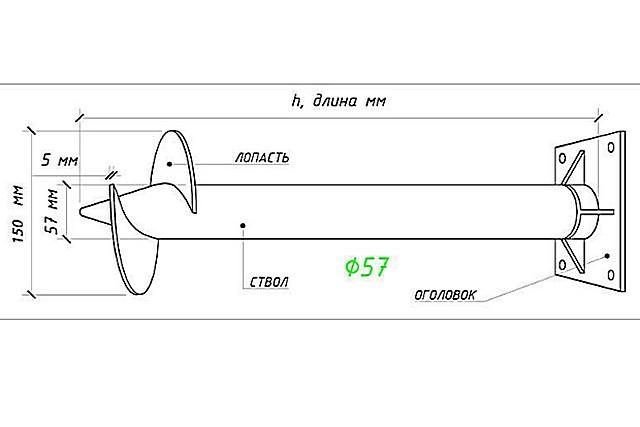 Для примера – чертеж стандартной сваи СВС-57
