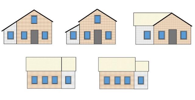 Часто используемые варианты пристроек к дому, и взаиморасположение их крыш с крышей основного здания