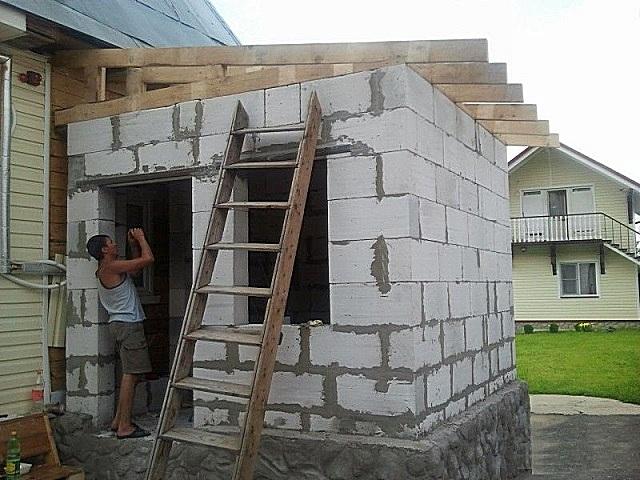 Небольшая пристройка на входе в дом, для которой достаточно простейшей односкатной крыши