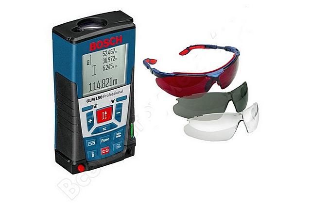 Лазерный дальномер с комплектом очков для работы в разных условиях освещенности.