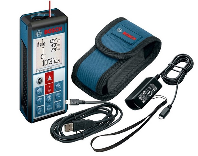 В качеств примера – комплект одной из моделей лазерного дальномера компании «Bosch»