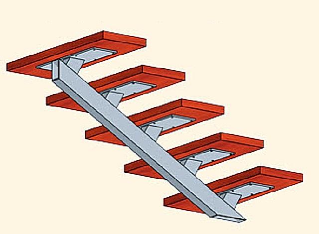 Эскиз маршевой лестницы с центральным прямым косоуром из профильной трубы