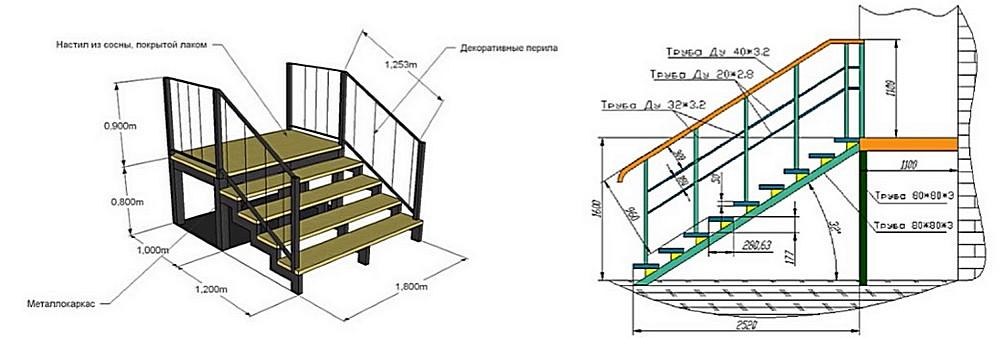 Еще два чертежа лестниц на каркасе из профильных труб. Могут подойти для маршей перед входной дверью в дом.