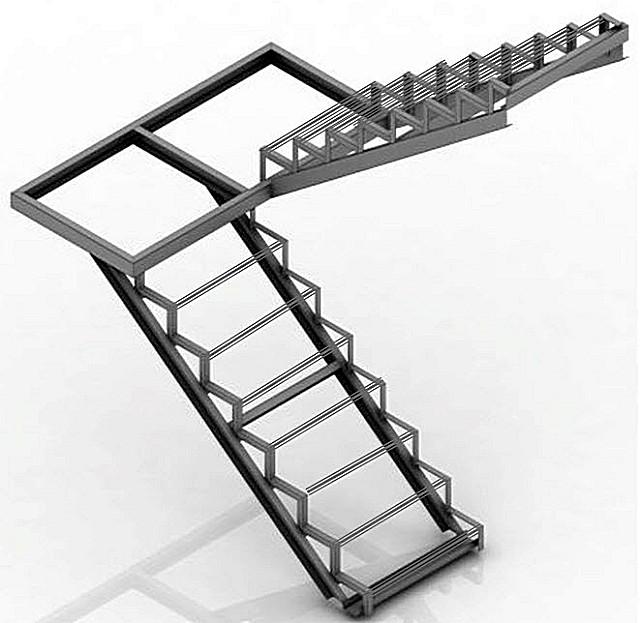 Стальной каркас двухмаршевой лестницы с переходной площадкой. Показан вариант из швеллера и уголков, но вполне можно использовать и профильную трубу
