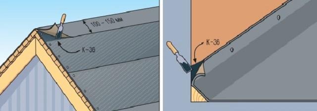 Схема укладки подкладочного ковра по линии конька и по линиям возможного прилегания скатов к стенам.
