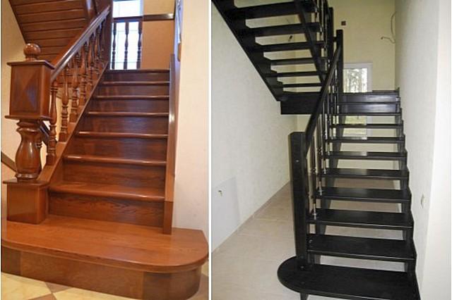 Схожие по конфигурации деревянные лестницы, но слева ступени закрыты подступенками, а справа – «полупрозрачная» конструкция. За счет отсутствия подступенков лестница визуально кажется более легкой.