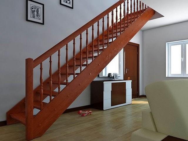 Прямая одномаршевая лестница – самый простой вариант, но требующий немало места для установки
