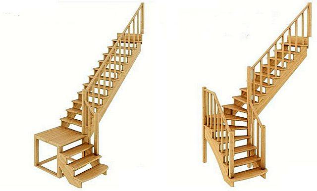 Равная высота подъема, одинаковый угол крутизны, но слева прямые перпендикулярные друг другу марши лестницы соединяет площадка, а справа – плавный переход с забежными ступенями