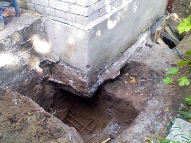 В случаях, когда требуется создать дополнительную опору под проседающей частью фундамента, устанавливаются бетонные или стальные подпорки. На иллюстрации – котлован для заливки бетонной опоры под углом подошвы ленты