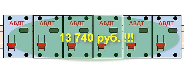 Стоимость установки дифференциальных автоматов превосходит ранее рассмотренный вариант в 2.5 раза. И это – без каких-либо преференций в плане повышения безопасности и даже без выигрыша места в распределительном шкафу!