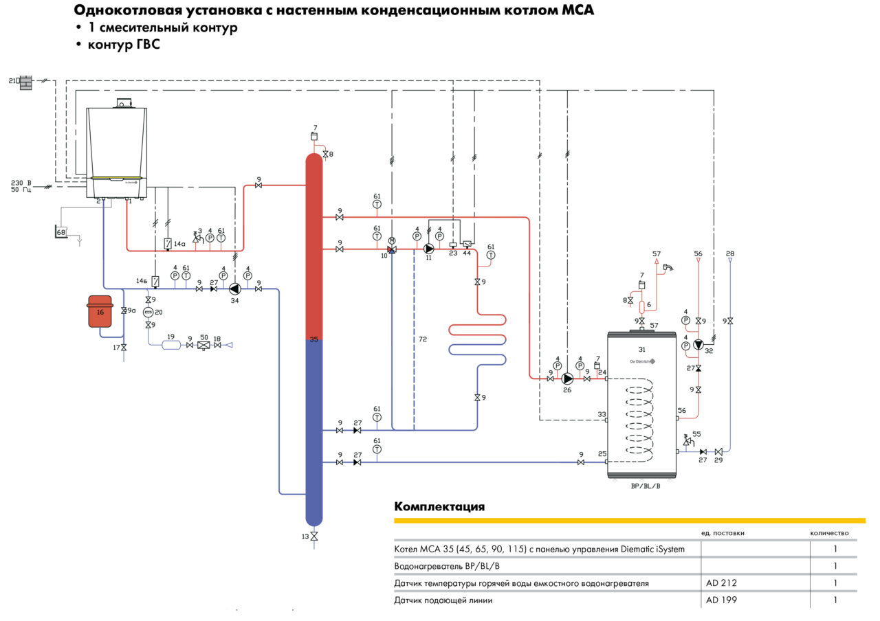 Гидравлическая схема системы отопления с теплыми полами и бойлером косвенного нагрева