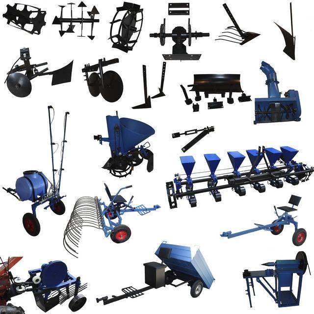 Пример разнообразия навесного и прицепного оборудования для тяжелых мотоблоков