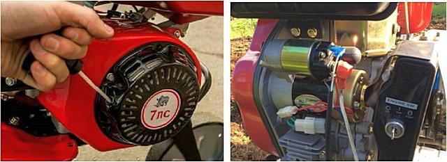 Запуск двигателя мотоблока может производиться ручным или электрическим стартером