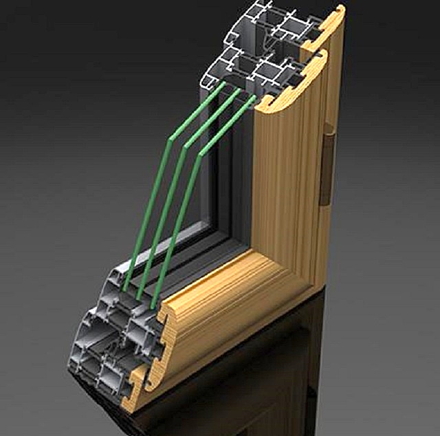Примерная схема устройства алюминиевой рамы с деревянной облицовкой
