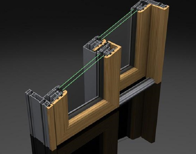 Алюминиево-деревянная конструкция раздвижного типа