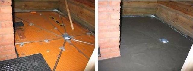 Банный пол с уложенной термоизоляцией и установленными маяками – до и после заливки бетонной стяжки
