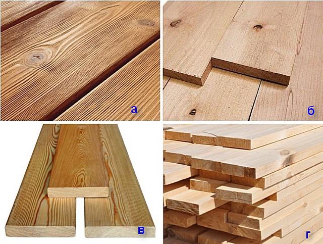 Доски, использующиеся для настила банных полов: а –дуб; б – ольха; в – лиственница; г – сосна.