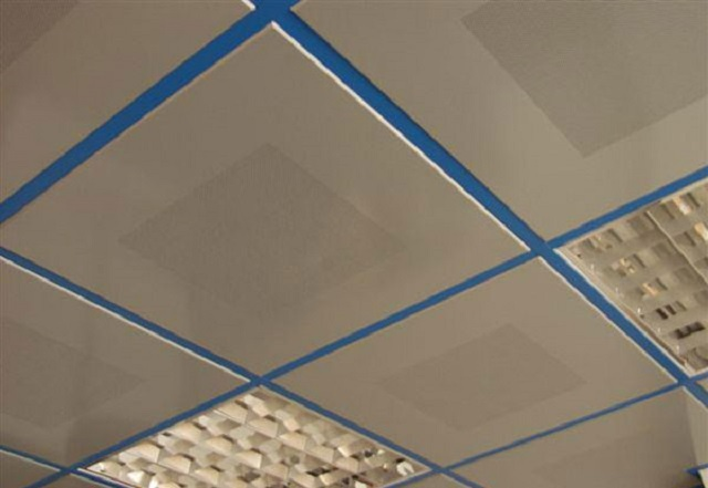 Вполне можно сочетать контрастную расцветку направляющих каркаса и потолочных панелей
