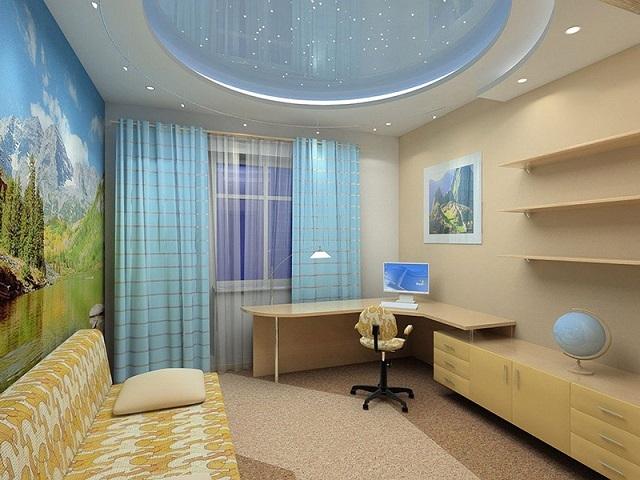 Перламутровый потолок комбинированного типа с подсветкой.
