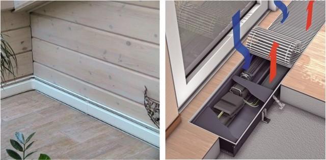 Конвекторы могут иметь и совершенно особое, необычное исполнение. На иллюстрации: слева – обогреватель плинтусного типа, справа – конвертор, скрывающийся под поверхностью пола.