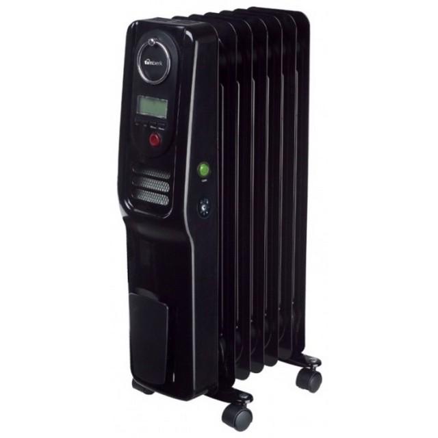 Современная модель масляного обогревателя, оснащенного электронным термостатом, цифровым дисплеем и встроенным вентилятором